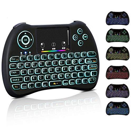 Haofy Mini Tastatur, 2,4 GHz drahtlose Fernbedienung USB Wireless Keyboard Bunte Hintergrundbeleuchtung mit Akku Maus deutschem Tastaturlayout für PC Pad Google Android TV Box Smart TV