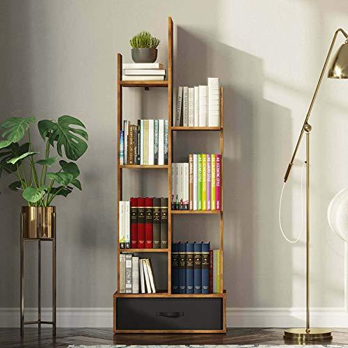 Rolanstar Bookshelf with Drawer, Rustic Wood Bookshelves, Free Standing Book Shelf Industrial Shelf Free Standing Storage Shelf for Bedroom, Living Room, Home Office, Rustic Brown