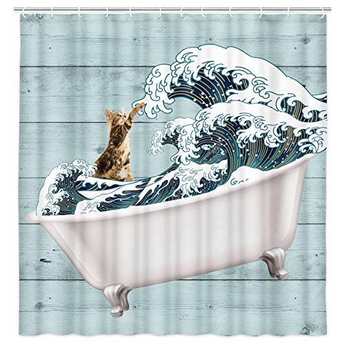 Funny Cat Shower Curtain, Cat Surfing on Kanagawa Japanese Wave Waterproof Fabric Shower Curtain Set with Hooks, Cute Bathtub on Rustic Wooden Modern Shower Curtains for Bathroom, Blue Teal Green