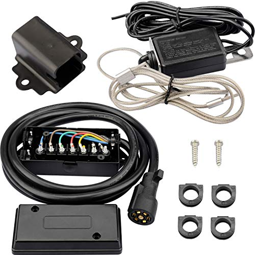 RVMATE 7 Way 8 Feet Plug Trailer Cord Kit,Include 12V Breakaway Switch and Plug Holder, Trailer Connector Cable Wiring Harness with Waterproof Junction Box