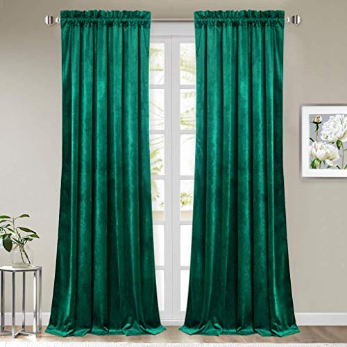 StangH Green Velvet Curtains 84 inches - Christmas Decor Plush Velvet Curtain Panels Blackout Insulated Window Curtains Drapes for Living Room, W52 x L84, 2 Panels