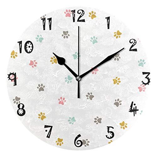 LDIYEU Cerdo Reloj de Pared Silencioso Decorativo Madera Vintage Relojs para Niños Niñas Cocina Dormitorio Hogar Oficina Escuela Decoración