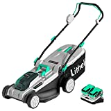 Litheli Cordless Lawn Mower 2X20V(40V) 17 inches Brushless , with 4AhX2 Battery and Charger, Electric Lawn Mower for Garden, Yard and Farm