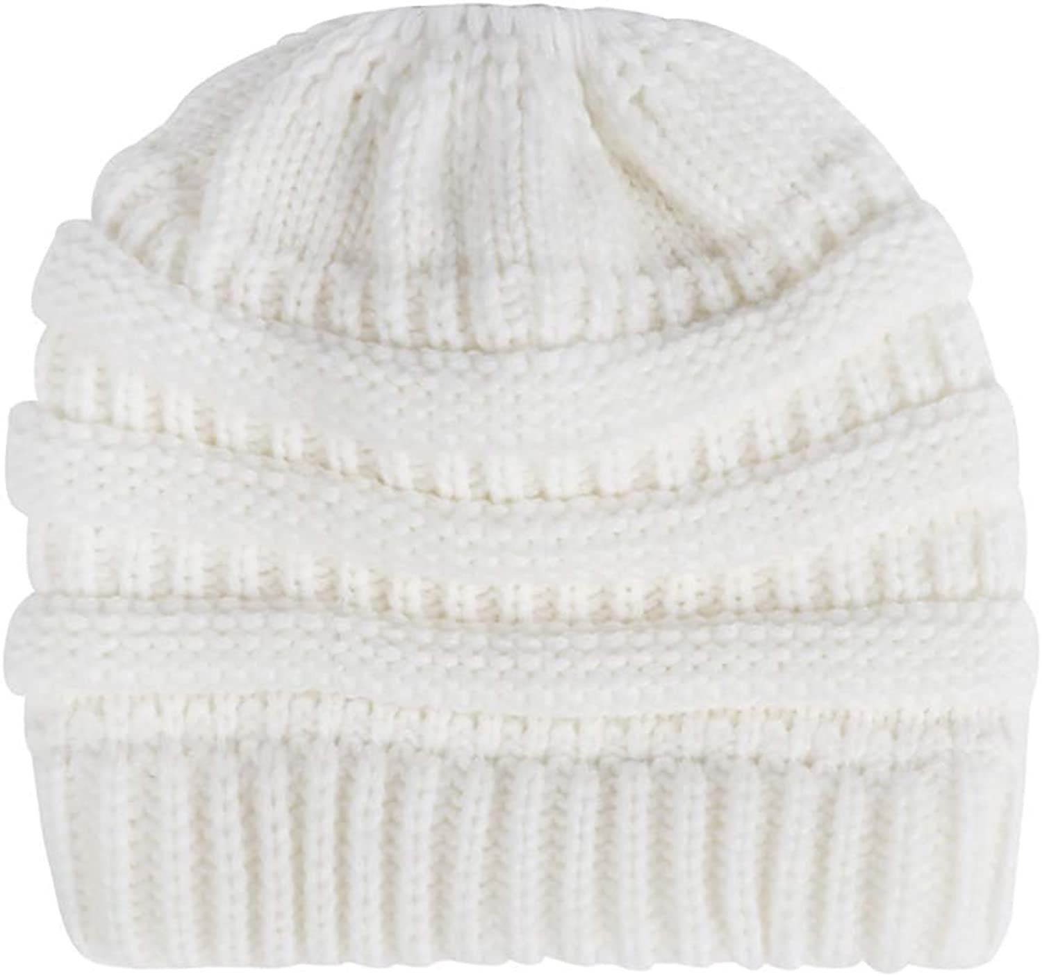 BABYHYY Womens Girls Winter Warm Messy Bun Ponytail Hole Ski Knit Beanies Skull Cap
