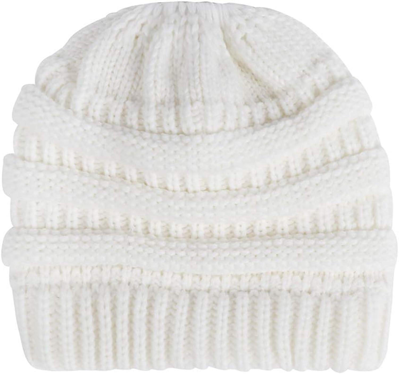 BABYHYY Womens Girls Winter Warm Messy Bun Ponytail Hole Ski Knit Beanies Skull Cap