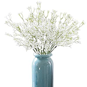 Xilanhhaa 9 Pcs Artificial Baby Breath Gypsophila Flowers,Fake Real Touch White Flowers Bouquets for Wedding Party DIY Wreath Floral Arrangement Home Decoration