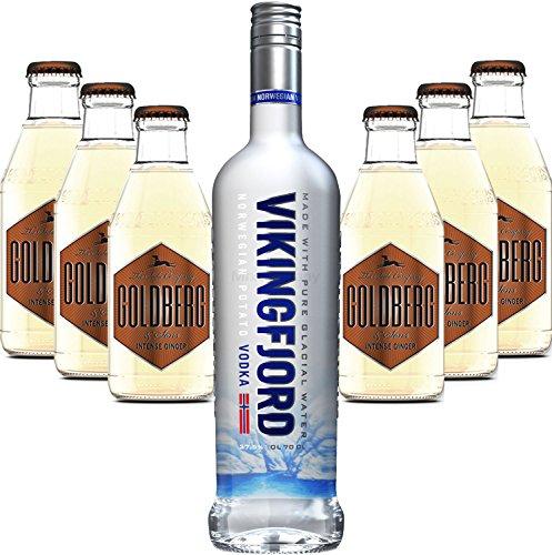 Moscow Mule Set - Vikingfjord Vodka 0,7l 700ml (37,5% Vol) + 6x Goldberg Intense Ginger 200ml - Inkl. Pfand MEHRWEG