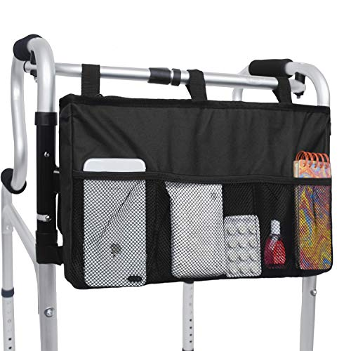 Walker Bag Organizer, MDSTOP Hanging Storage Bag, Waterproof Accessory Tote Caddy, Universal Fits for Walkers, Scooters or Rollator Walkers...