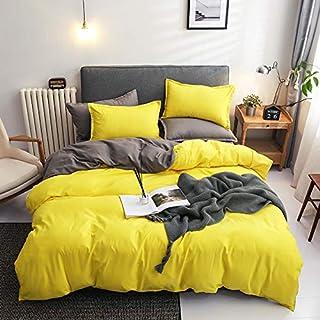 Damier Parure de lit réversible 220 x 240 cm, jaune, gris, 3 pièces en microfibre douce, couleur unie, housse de couette a...