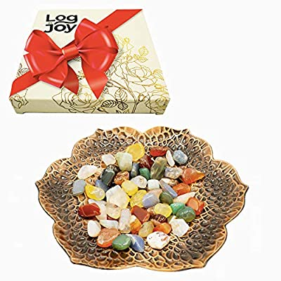 Log in Joy Home Decor Tray with Candle - Coffee Table Mantle Decor Centerpiece Metal Bowl - Decorative Centerpiece for Coffee Table or Dining Table Gift Boxed