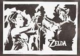 Poster Zelda y Link Grafiti Hecho a Mano - Handmade Street Art - Artwork