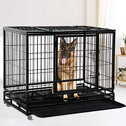 Dog Cage Crate Heavy Duty Strong Metal 48/36 Inches Large Pet Kennel Playpen for Training, Indoor Outdoor Dog Enclosure with Lockable Wheels & Plastic Tray & Double Doors & & Locks Design, Black