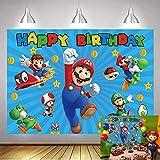 QLDZ Super Mario fondos niños Feliz cumpleaños fotografía fondo dibujos animados videojuego Baby Shower fiesta fondo 2,1x1,5 m