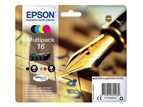Epson original - Epson Workforce WF-2750 DWF (16 / C13T16264012) - Tintenpatrone Multipack (schwarz, Cyan, Magenta, gelb)