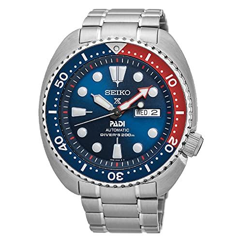 Seiko Prospex PADI Automatik-Taucheruhr 200 m Stahl rot blau SRPE99K1