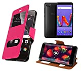 New&Teck Wiko Harry 2 Case with 2 Windows in Imitation