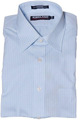 Kirkland Signature Men's Button Shirt Baby Blue/White/Black Mini Checkers (151/2x33)