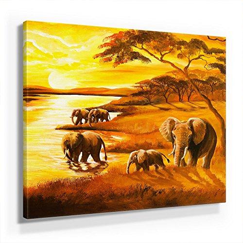 Mia Morro Afrika Elefanten Bild D450, 1 Teil 50x50cm Leinwand auf Holzrahmen aufgespannt, FineArt Print, UV-stabil und wasserfest, Kunstdruck für Büro oder Wohnzimmer, Deko Bild