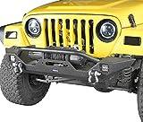 Hooke Road Jeep Wrangler TJ Front Bumper with Winch Plate & LED Lights for 1997-2006 Jeep Wrangler TJ LJ
