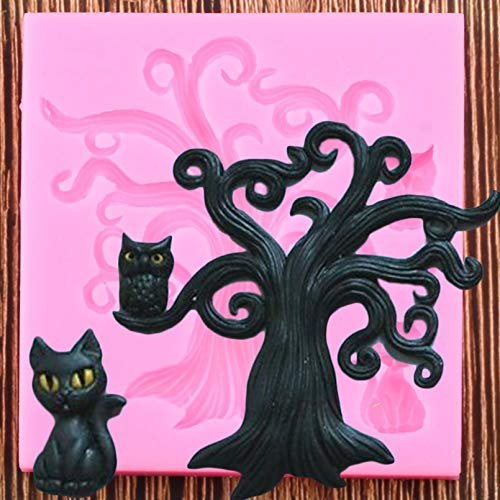 FGHHT 3D Tree Owl Silicone Mold Cat Fondant Chocolate Mould Cupcake Topper DIY Cake Decorating Tools Candy Polymer Clay Molds