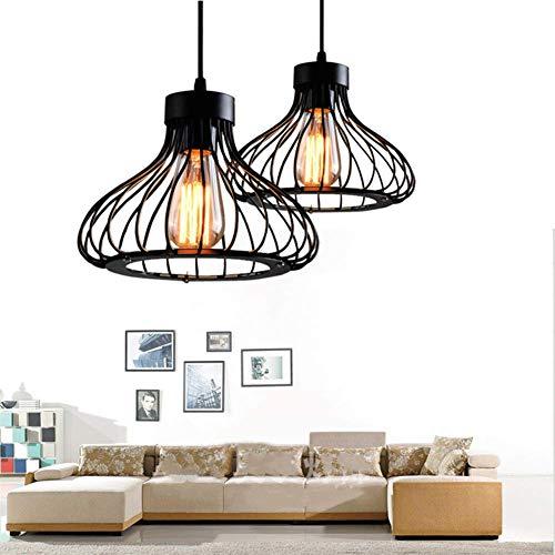 2x Vintage Industrie Beleuchtung Metall Loft Pendelleuchte Retro Deckenleuchte Retro Lampe Shade für E27 Hängelampe Wohnzimmer Esszimmer Restaurant usw.Industrielle(Schwarz)