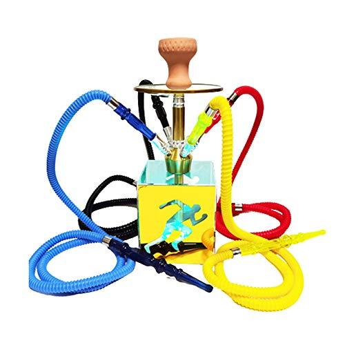 QqHAO Cachimba árabe, Cuatro Personas cachimba cachimba Paquete con LED de Colores Hecha a Mano cachimba, Conveniente para Las Barras, Casas, KTV,Oro