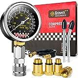 Bravex Compression Tester Kit - Petrol Engine Cylinder Compression Gauge Automotive Tool Gauge with Adapter & Hose(8 Pieces Set)