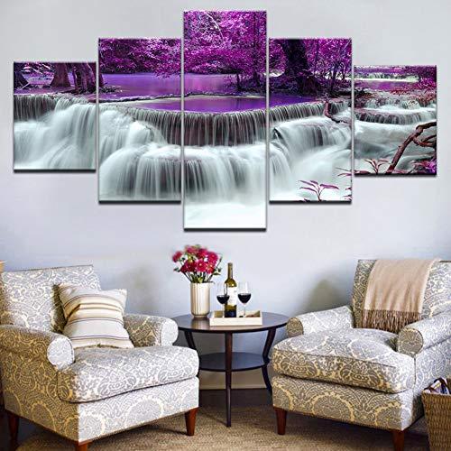 GHTAWXJ 5Panel HD Printed Der lila Wald mit Wasserfall Landschaftsdruck auf Leinwand Kunstmalerei für zu Hause Wohnzimmer