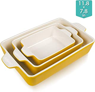 SWEEJAR Ceramic Bakeware Set, Rectangular Baking Dish Lasagna Pans for Cooking, Kitchen, Cake Dinner, Banquet and Daily Use, 11.8 x 7.8 x 2.75 Inches of Baking Pans (Yellow)