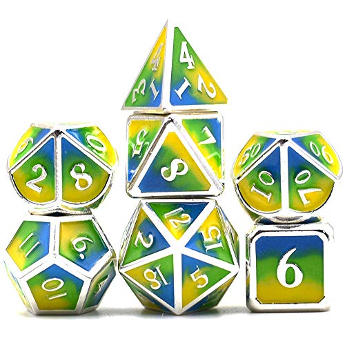 Metal Dice Set DND 7 Die Metal Polyhedral Dice Set Three Powder Color Metal Dice for Role Playing Game Dungeons and Dragons D&D and Math Teaching(Blue&Green&Yellow)