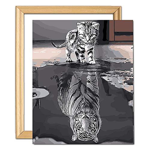 YIMAKJ Malen nach Zahlen Erwachsene, DIY Handgemalt Ölgemälde für Kinder Anfänger- Katze oder Tiger Leinwanddruck Wandkunst Dekoration Home Haus Deko (mit Rahmen 40x50cm)