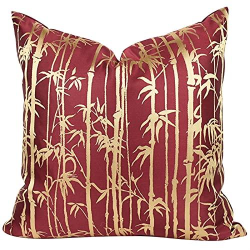 HOUMEL Cubiertas de Cojines Decorativos Cajas de Almohada Cuadrada de Sombra de bambú Rojo clásico con Relleno para Sala de Estar sofá Cama sofá 45 cm x 45 cm 18 x 18 Pulgadas 454