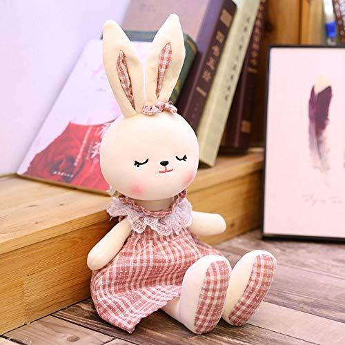 CPFYZH 70 cm plyschleksak klädd kjol kanin docka säng följer sovdocka mjuk söt mus födelsedagspresent – rosa kanin_70 cm
