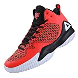 PEAK High Top Mens Basketball Shoes Lou Williams Streetball Master Breathable Non Slip Outdoor Sneakers Cushioning Workout Shoes for Fitness Fluorescent Orange (Apparel)