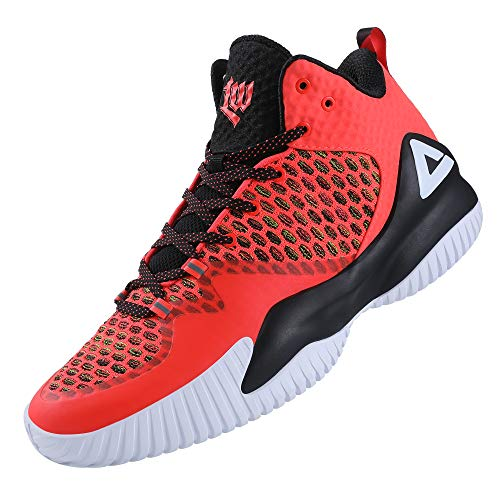 PEAK High Top Mens Basketball Shoes Lou Williams Streetball Master Breathable Non Slip Outdoor Sneakers Cushioning Workout Shoes for Fitness Fluorescent Orange