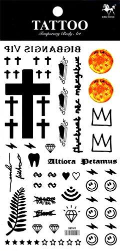 Concezioni impermeabili e non tossici SPESTYLE diversi e uniche e Totem temporanei adesivi di tatuaggio, compresi Croce, stelle, Diamante, Argento, ecc.