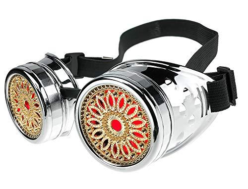 MFAZ Morefaz Ltd Gafas de Sol Welding Cyber Goggles Steampunk Goth Cosplay Sunglasses Round Glasses Party Fancy Dress (Silver Design)