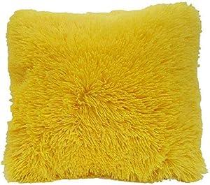 DiamondHome Super Soft Faux Fur Decorative Filled Throw Pillow Cushion (Yellow)