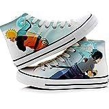 Maneray Zapatillas para Hombre High Top Canvas Shoes Uzumaki Naruto Uchiha Sasuke Anime Cosplay Unisex Casuales Zapatos de Lona 37