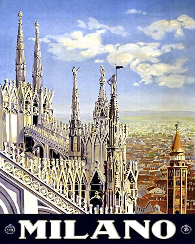 Erthstore 8x10 inch Photograph of Milan Italy Vintage Travel Poster Art