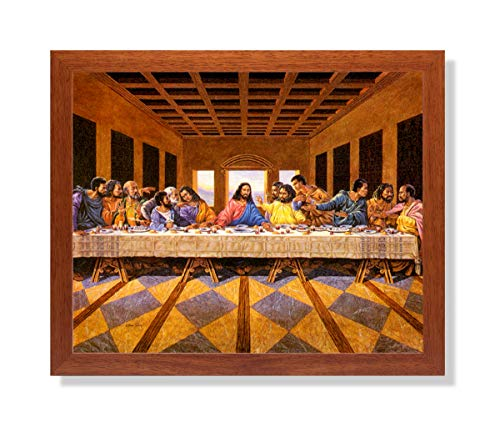 African American Black The Last Supper Jesus Christ Religious Wall Picture Honey Framed Art Print