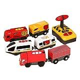 ISAKEN Gran Locomotora a Pilas, Juguete de Tren de Tren de Control Remoto eléctrico Compatible con Train Track Toy Tren de Madera y víaspara bebés Juguete Educativo