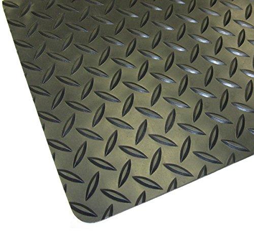 Thermodyn 1/8' x 4'x40' Rubber Diamond Plate Flooring, Black in Color