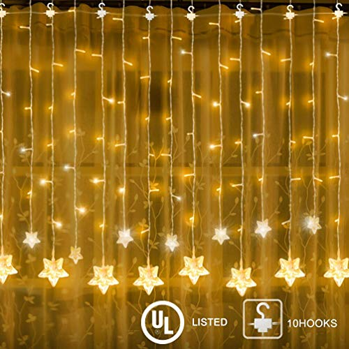 YINUO LIGHT LED Star Window Curtain String Light for Wedding Party Home Garden Bedroom Outdoor Indoor Wall Decorations (Warm White)