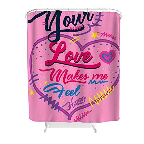 Ainiteey grafische hartvorm tekst vochtbestendig klassiek gestreept onderhoudsvriendelijke stof met sluiting voor badkamer decoratie polyester grafisch