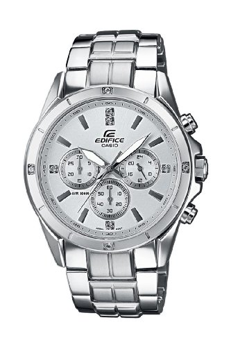 CASIO EF-544D-7AVEF Edifice - Reloj de Caballero de Cuarzo, Correa de Acero Inoxidable Color Plata