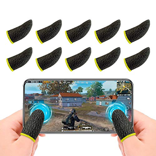 Newseego PUBG Mobile Game Finger Sleeve[10 Pack], Touchscreen Fingerhülse Atmungsaktiv Ultradünn Anti-Sweat Fingerset für Überlebensregeln/Knives Out für Android & IOS, Gelb