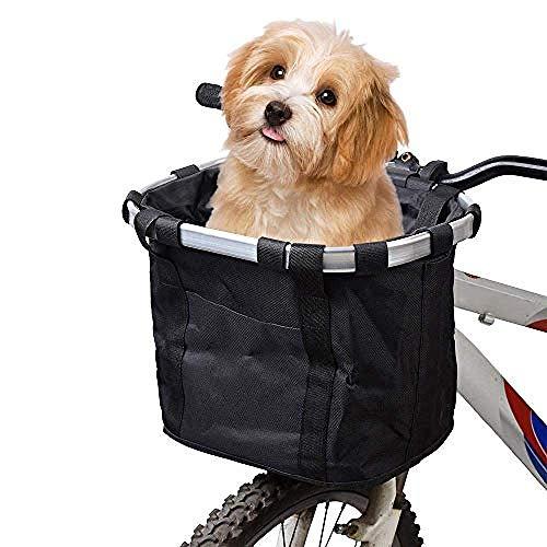KNFBOK fahrrad lenkertasche hundekorb fahrrad Hundekorb für Faltbare Abnehmbare Haustier Hund Katze Fahrrad Tragetasche Wasserdichte Vordere Fahrradkorb für Haustiere Reisen/Picknick/Einkaufen Schwarz