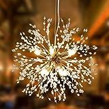 Alynzee Lámparas de Araña Dorado LED Lampara Colgante Ajustable en Altura Moderna...