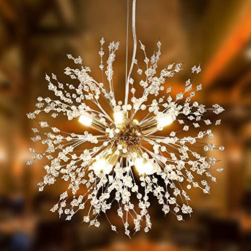 Alynzee Lámparas de Araña Dorado LED Lampara Colgante Ajustable en Altura Moderna Luz de Techo Sputnik Regulable Candelabro de Techo de Cristal de para Dormitorio Comedor Iluminación Colgante 8 Luz